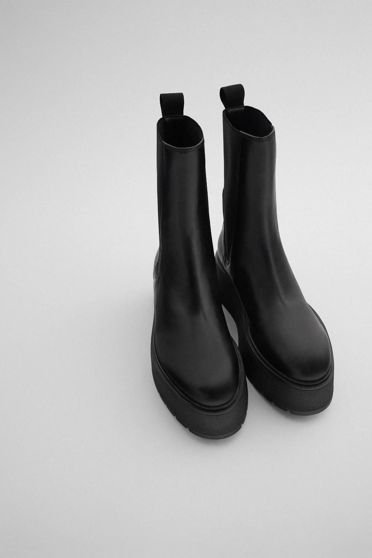 Skorzane Botki Na Plaskiej Platformie Zara Polska Poland Leather Ankle Boots Platform Ankle Boots Black Leather Ankle Boots