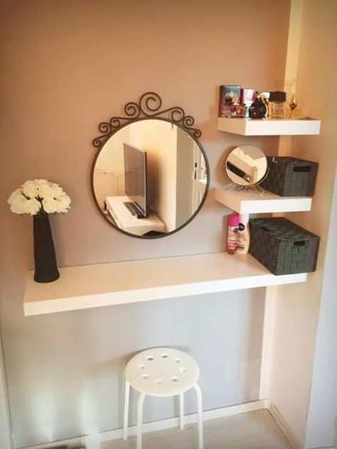 34 trendy makeup vanity small space floating shelves