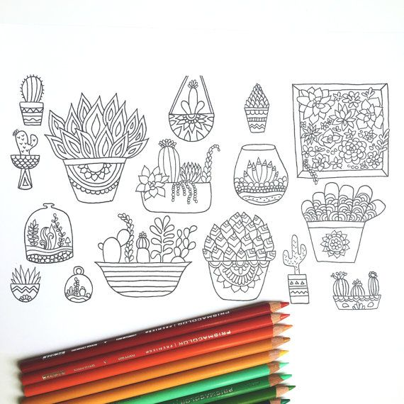 Succulent Adult Coloring Page download by Thrive360Living on Etsy ...