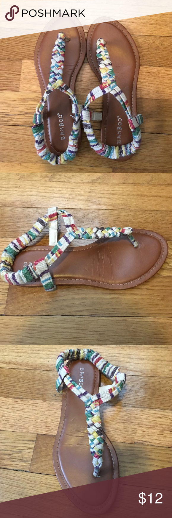 Awesome Woven Sandals! Striped rainbow and cream fabric braided together creating a sturdy, fashionable sandal. Worn once, only sign of wear on the bottom of the shoes as pictured in the last image. Elastic heel strap adjusts to your foot making them very comfortable to wear for long periods of time! Charlotte Russe Shoes Sandals