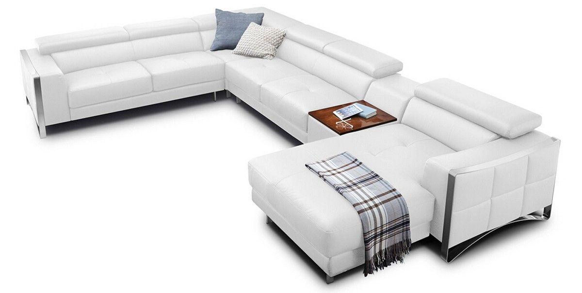 Stylish Design Furniture - Divani Casa Arles Modern White Leather - design sofa moderne sitzmobel italien
