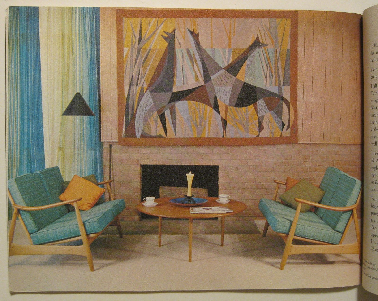 1960 Mid Century Modern French Tapestries Stunning Interior Design Le Corbusier