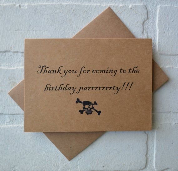Pirate Birthday Party kraft Thank you cards Treasure Map Skull cross bone kraft cards pirtate party #businessthankyoucards