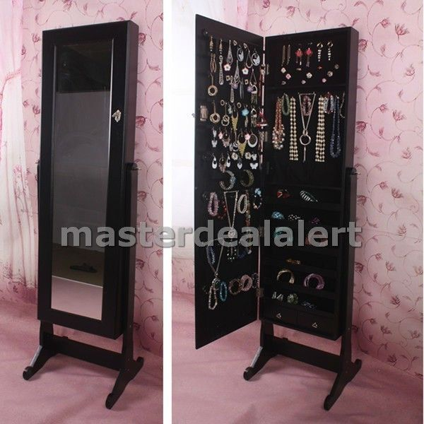 Black Wooden Jewelry Stand Armoire Cabinet Organizer Storage Mirrored  Cheval Box