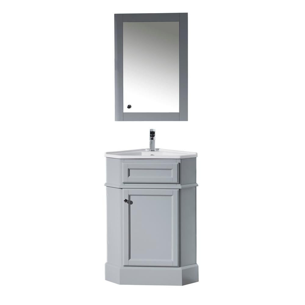 Stufurhome Hampton 27 In W X 18 In D Corner Vanity In Grey With Porcelain Vanity Top In White With White Basin And Mirror Cabinet Ty 415gy The Home Depot Corner Bathroom