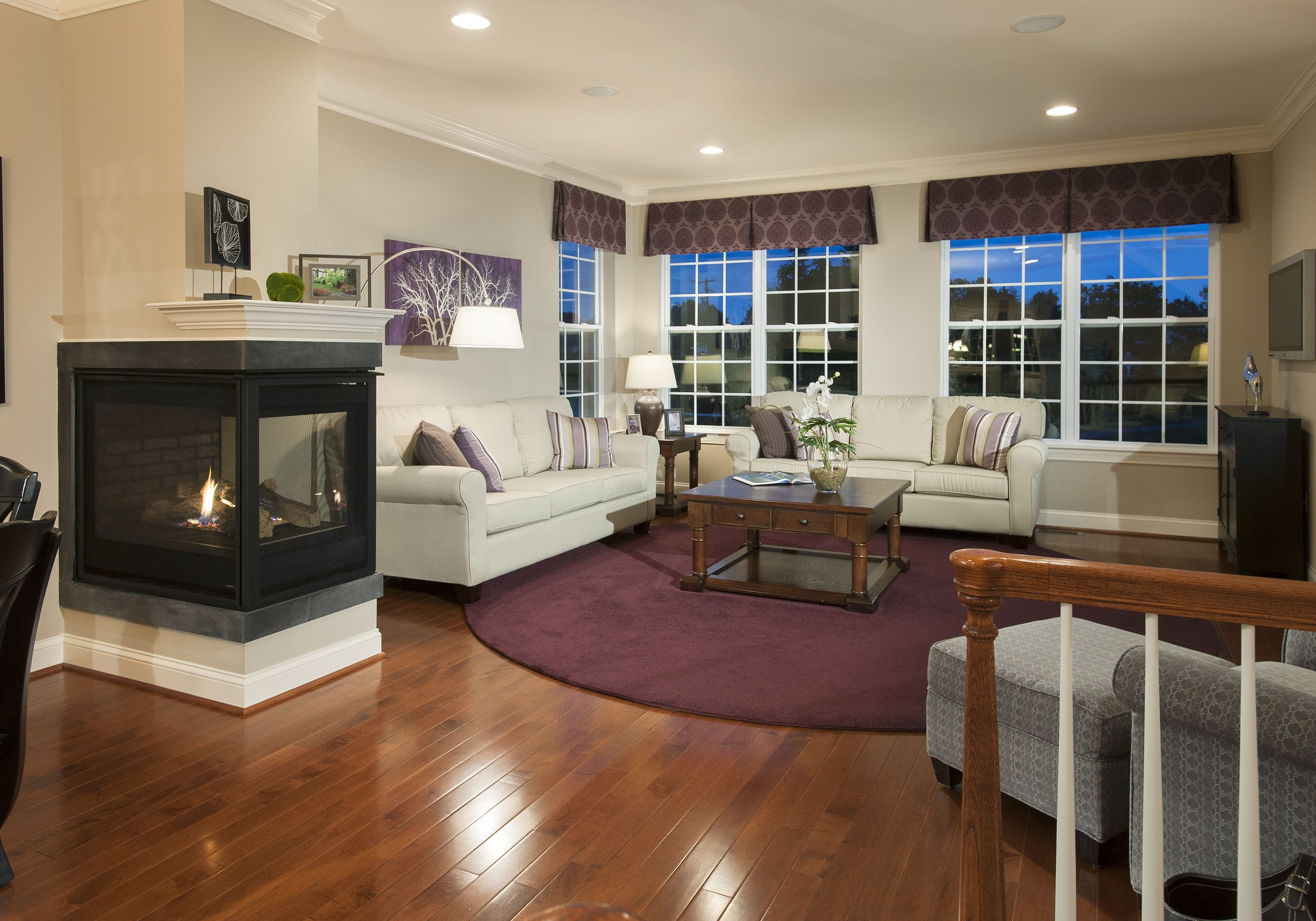 Beautiful living room with 3 sided fireplace country - Beautiful living rooms with fireplace ...