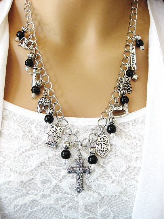 Cross Necklace, Black Beaded Necklace, Necklace Earrings Set, Christian Jewelry, Religious Jewelry, Catholic Jewelry, Cross Earrings, N-566