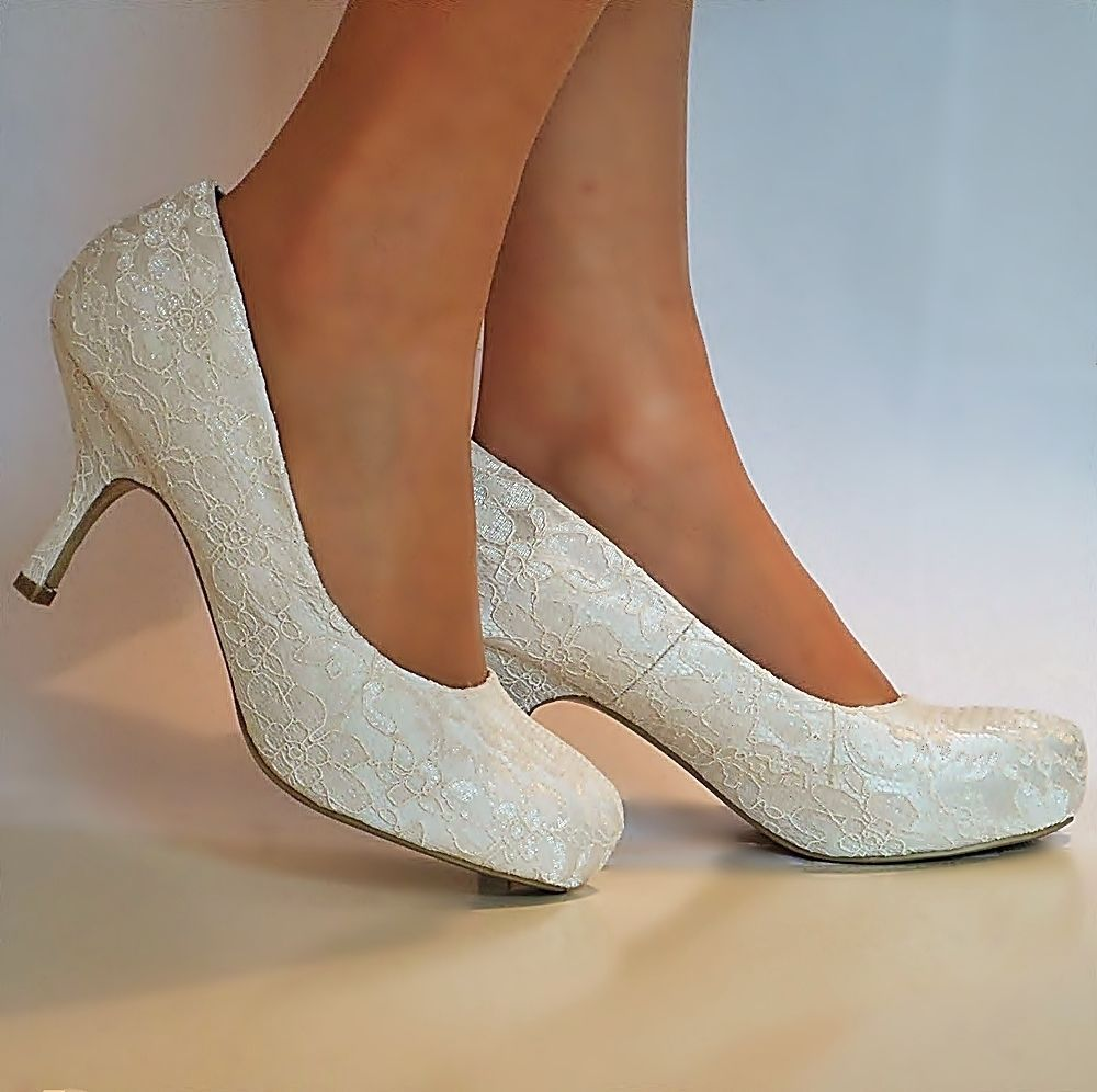 23dbe463db7b NEW Ladies Wedding Bridal Low Mid Kitten Heel Ivory Floral Lace Court Shoes  Size