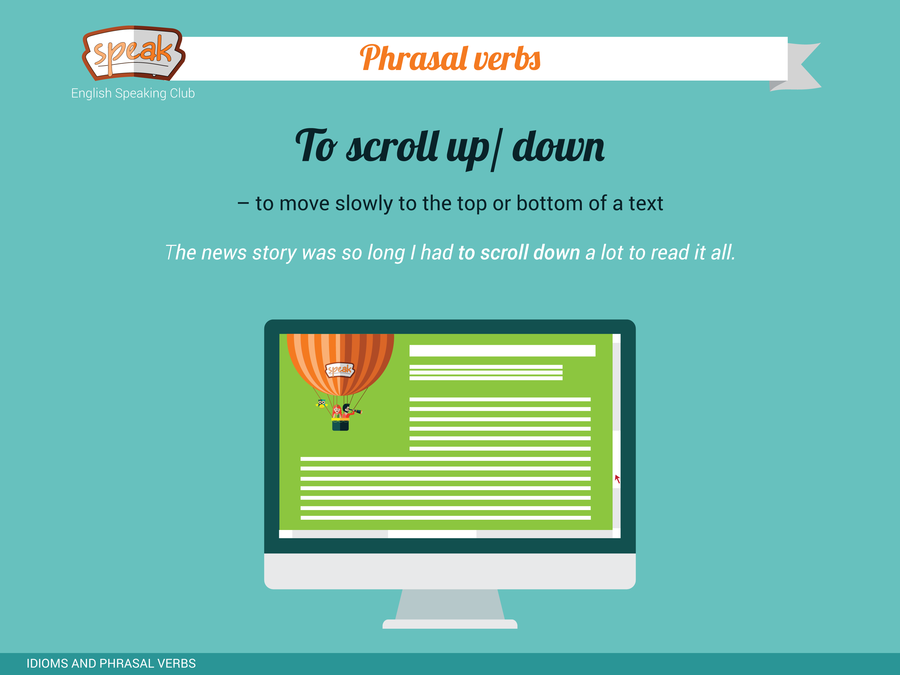 Phrasal Verb To Scroll Up Down To Move Slowly To The Top