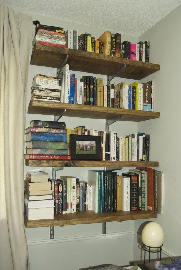 Amazing Chic Wall Mounted Book Shelf. Creative And Stylish  Wall Mounted Bookshelves Extravagant Homemade Wooden Style Minimalist Design Idea Finished With Simple On White