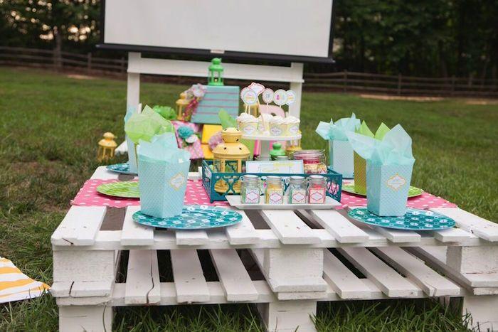 Pastel Outdoor Movie Night via Kara's Party Ideas KarasPartyIdeas.com ... - Pastel Outdoor Movie Night Via Kara's Party Ideas KarasPartyIdeas