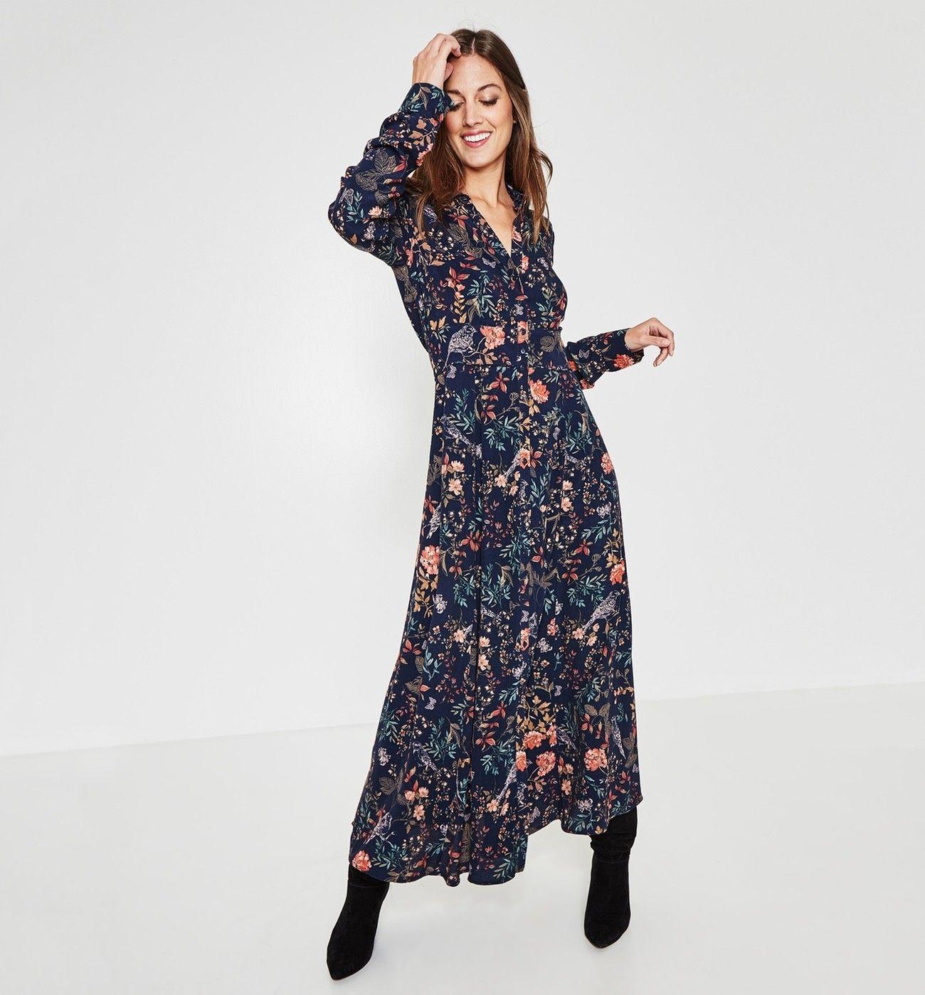 Maxi-Hemdblusenkleid - Schwarz gemustert - Damen - Kleider
