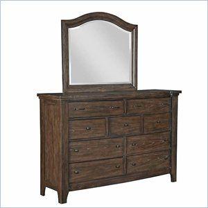 Broyhill Attic Retreat 9 Drawer Dresser And Mirror Set In Weathered Mink The Attic Retreat Drawer Dresser Has Broyhill Furniture Mirrored Furniture Furniture