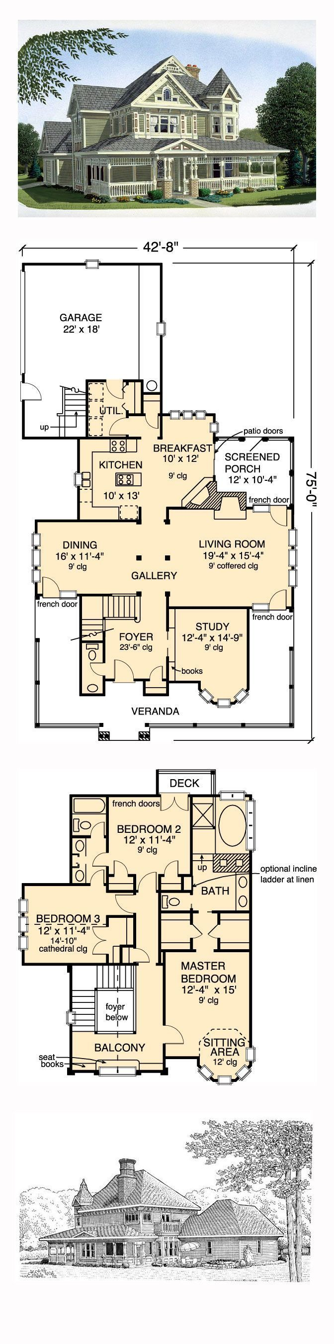 Victorian House Plan 95540  Total Living Area 2312 sq ft 3 bedrooms and 25 Victorian House Plan 95540  Total Living Area 2312 sq ft 3 bedrooms and 25