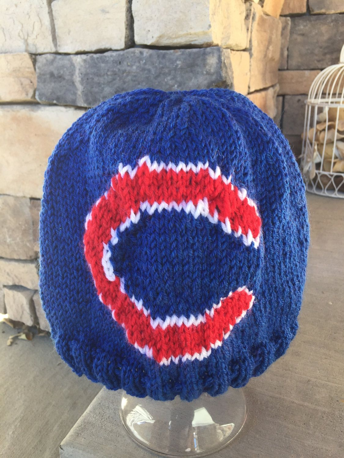 ea281292c2118 Chicago Cubs Logo Beanie Hat PATTERN - Ribbed Brim Intarsia Knit in Rows by  astraknots on Etsy