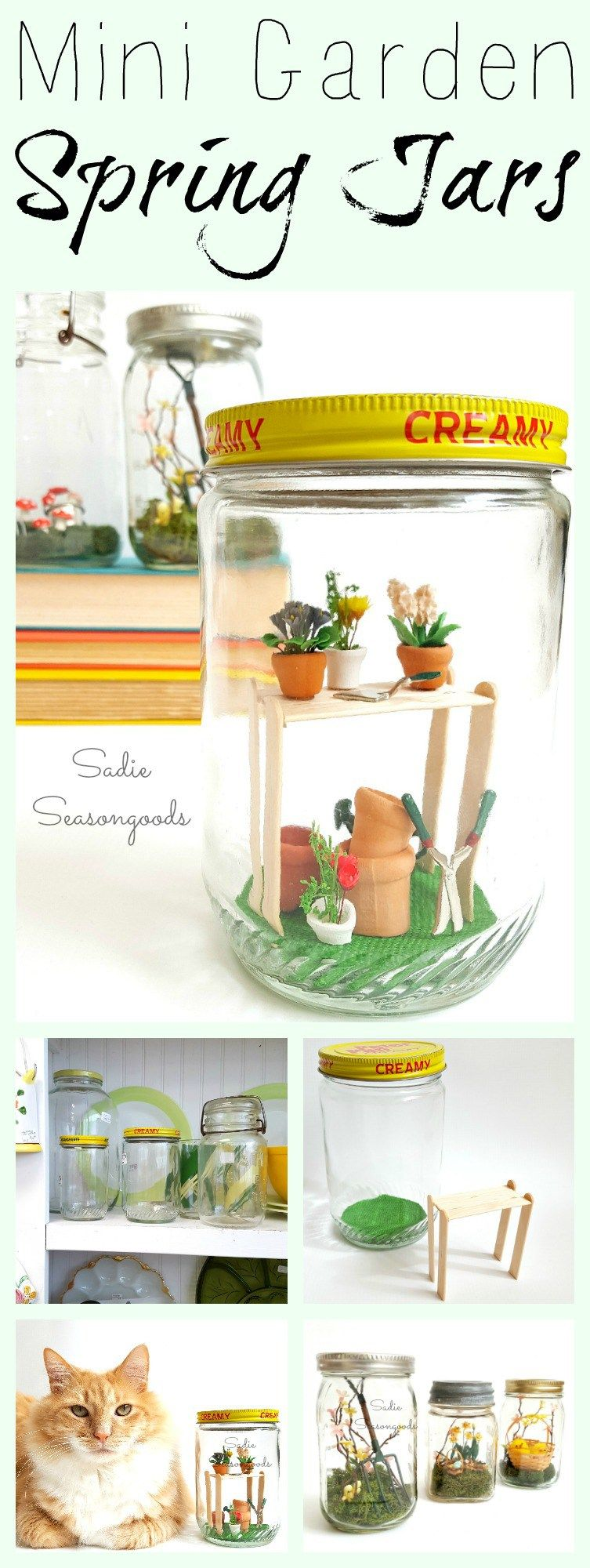 DIY Spring garden decor miniatures in repurposed vintage glass mason jars by Sadie Seasongoods / www.sadieseasongoods.com