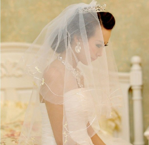 Aliexpress Hottest Style Two Layer White Grid Yarn Wedding Accessories Bridal Veils