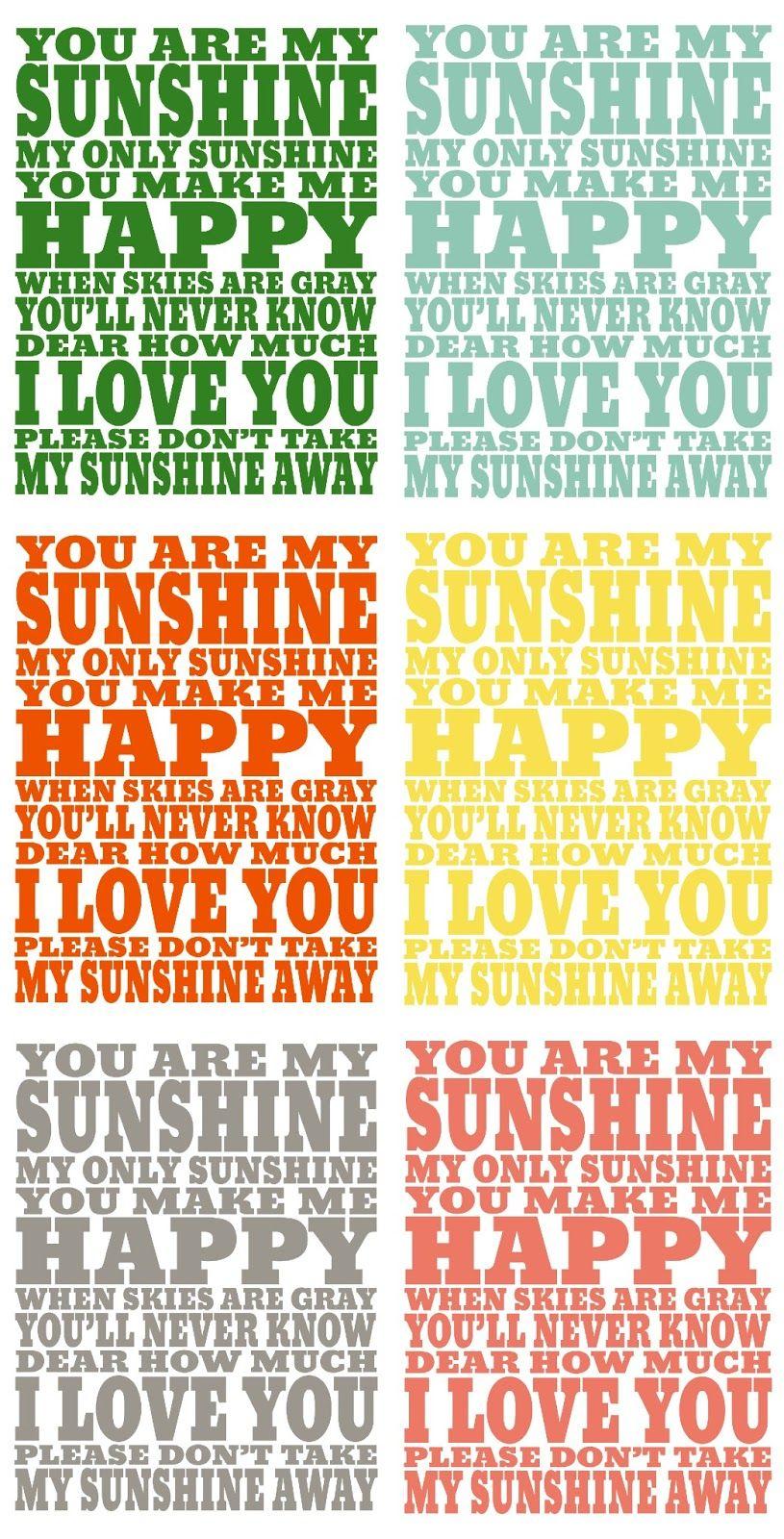 Free Printable ~ You Are My Sunshine Print... 8x10 or 16x20   Prints ...