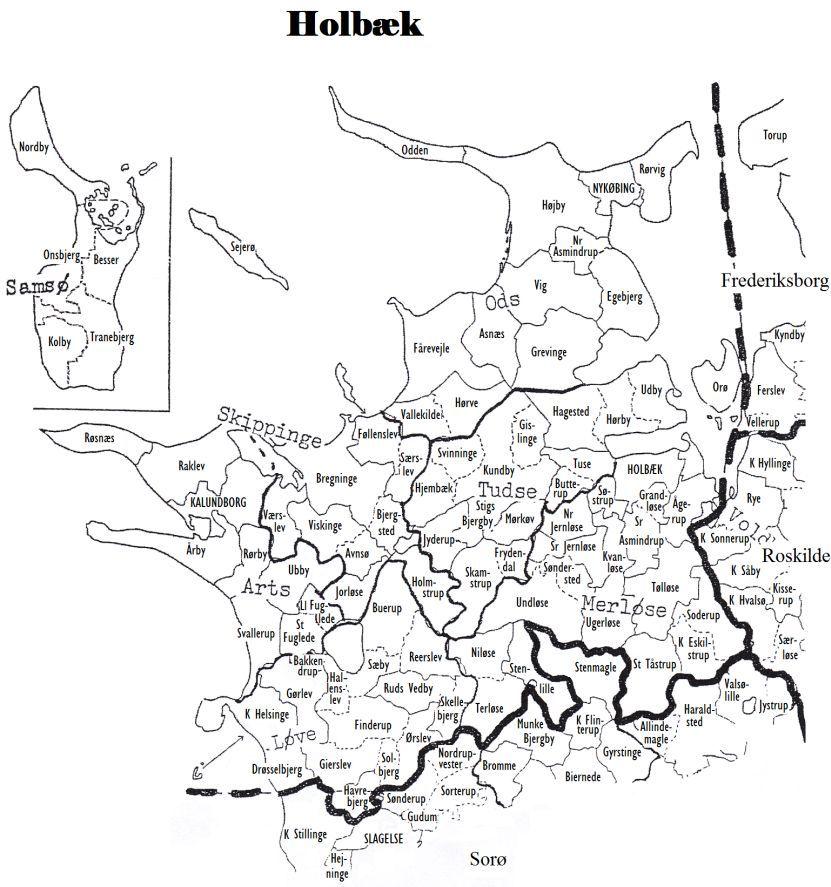 Holbaek Municipality Map Denmark Family History Heritage