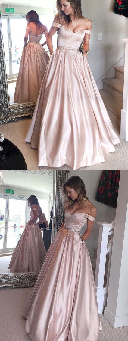 282563c2f4 Simple A-line Off the shoulder Champagne Long Prom Dress with Pocket ...