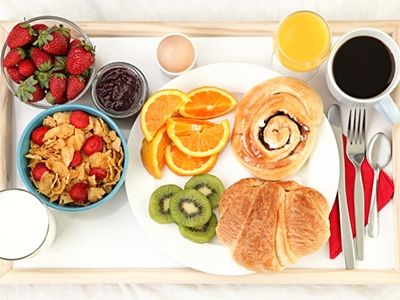 Breakfast in bed served on a tray