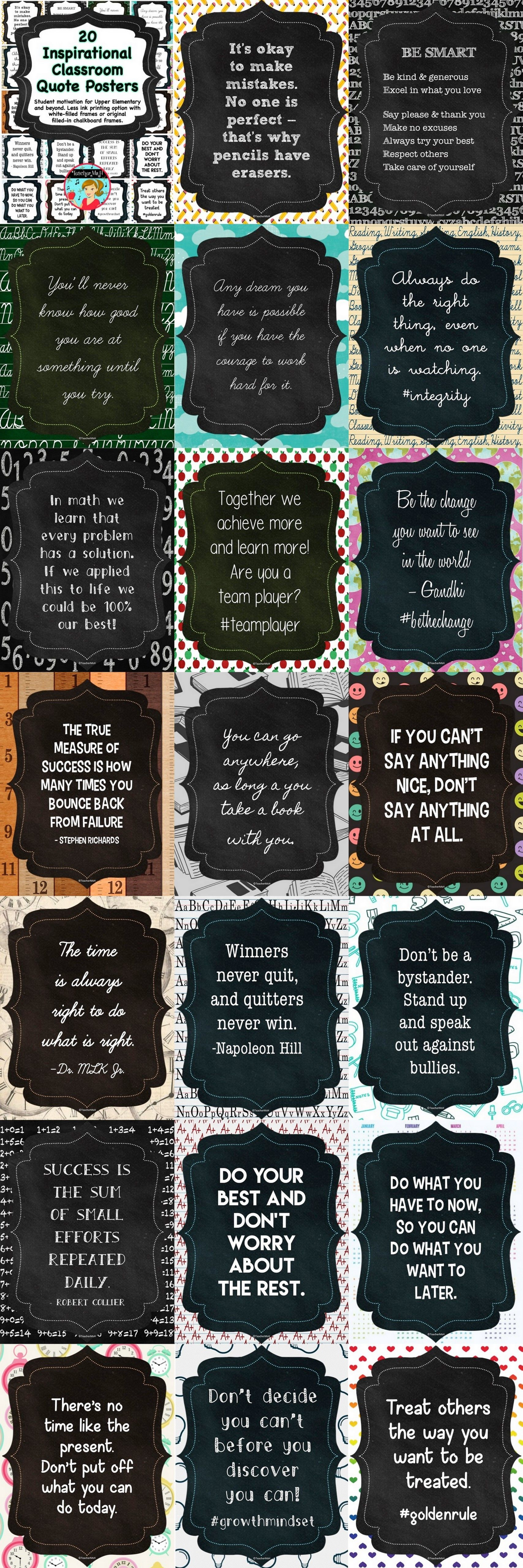 Modern Classroom Quotes ~ Inspirational classroom quotes printable posters
