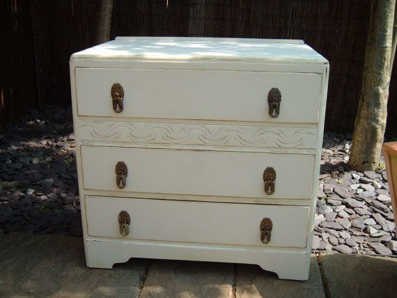stunning 1940's hand painted chest of three drawers original handles on Etsy, £159.99
