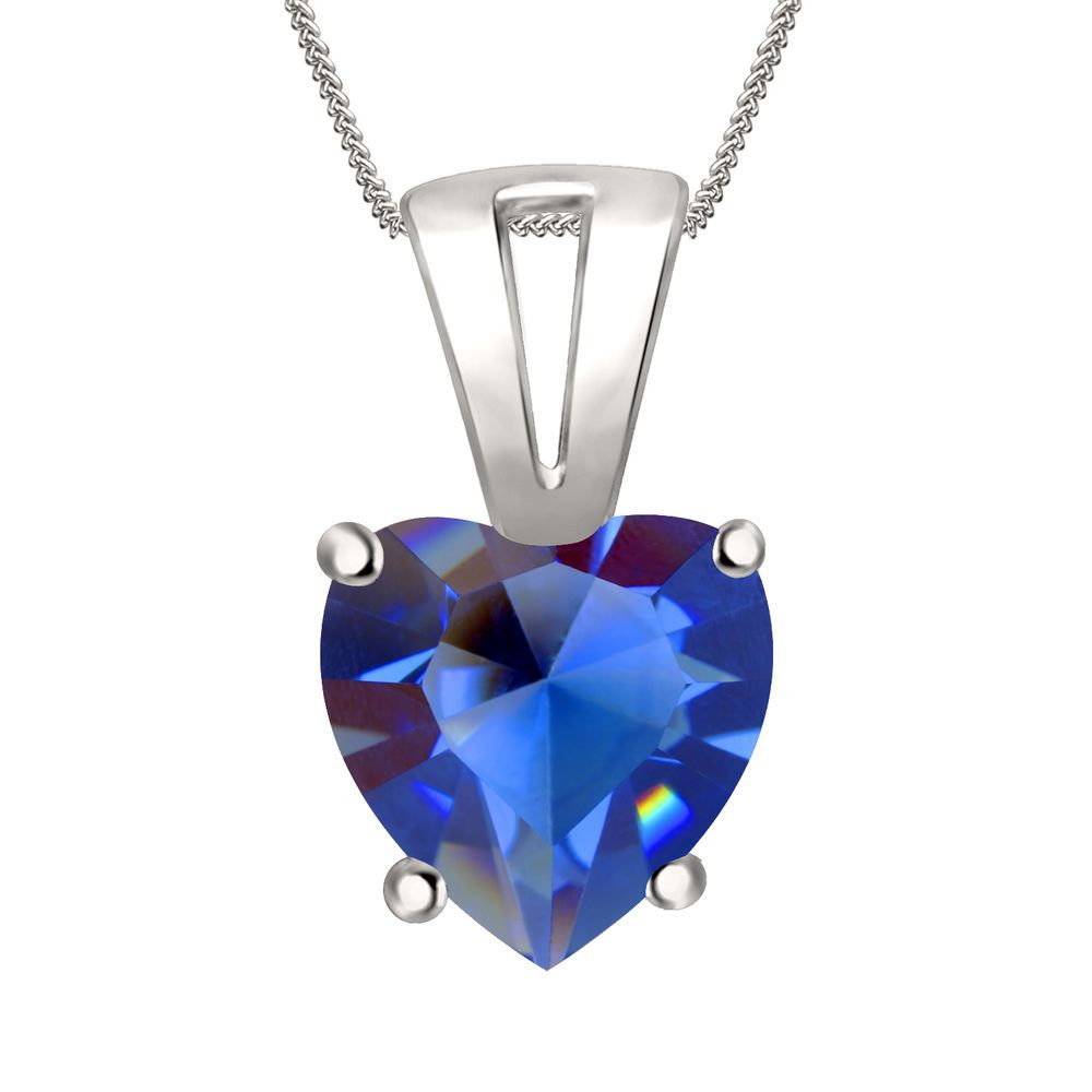 """7mm Sapphire Solitaire Heart Pendant 18"""" Chain 4 Prong In 14K White Gold Over #Diamondetc #SolitaireHeartPendant #ValentinesDay"""