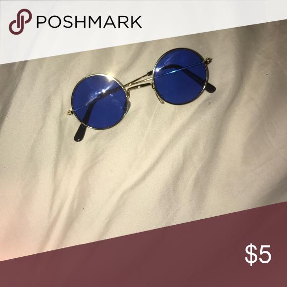 62cd6c51bca9 Blue gold tinted Ozzy Osborne glasses
