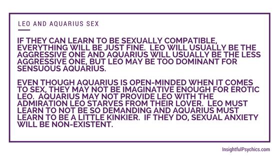 Leo and aquarius sexual compatibility