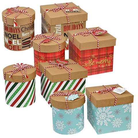 Bulk Square And Round Holiday Gift Boxes With Twine At Dollartree