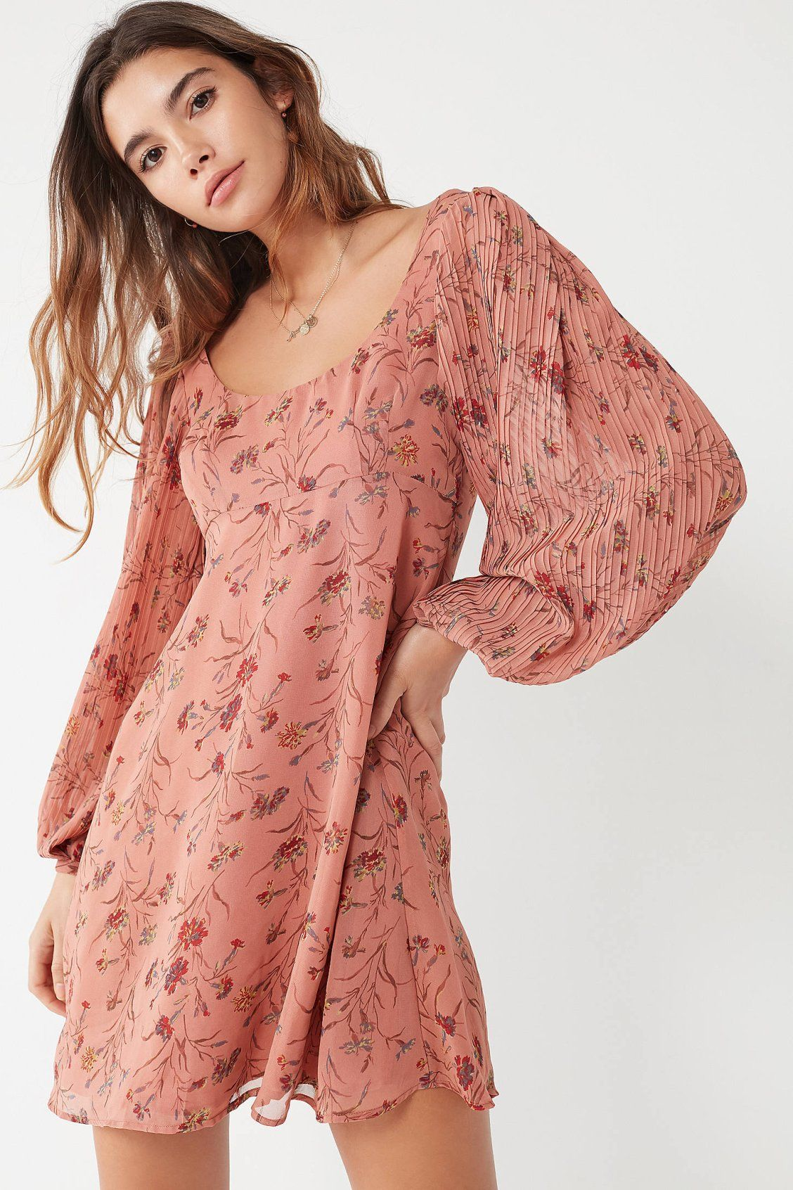 Uo persephone pleated sleeve mini dress urban outfitters mini