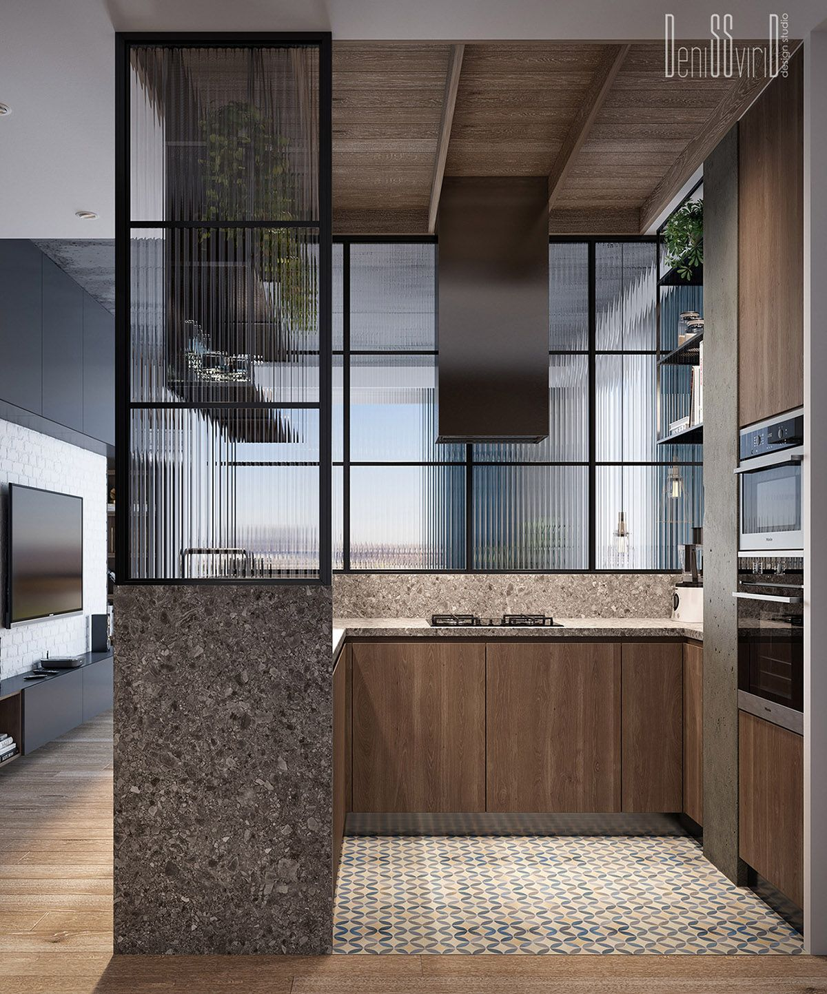 Jjo Urban Kitchen Modern Fitted Kitchens: Three Industrial Style Lofts WIth Natural Accents