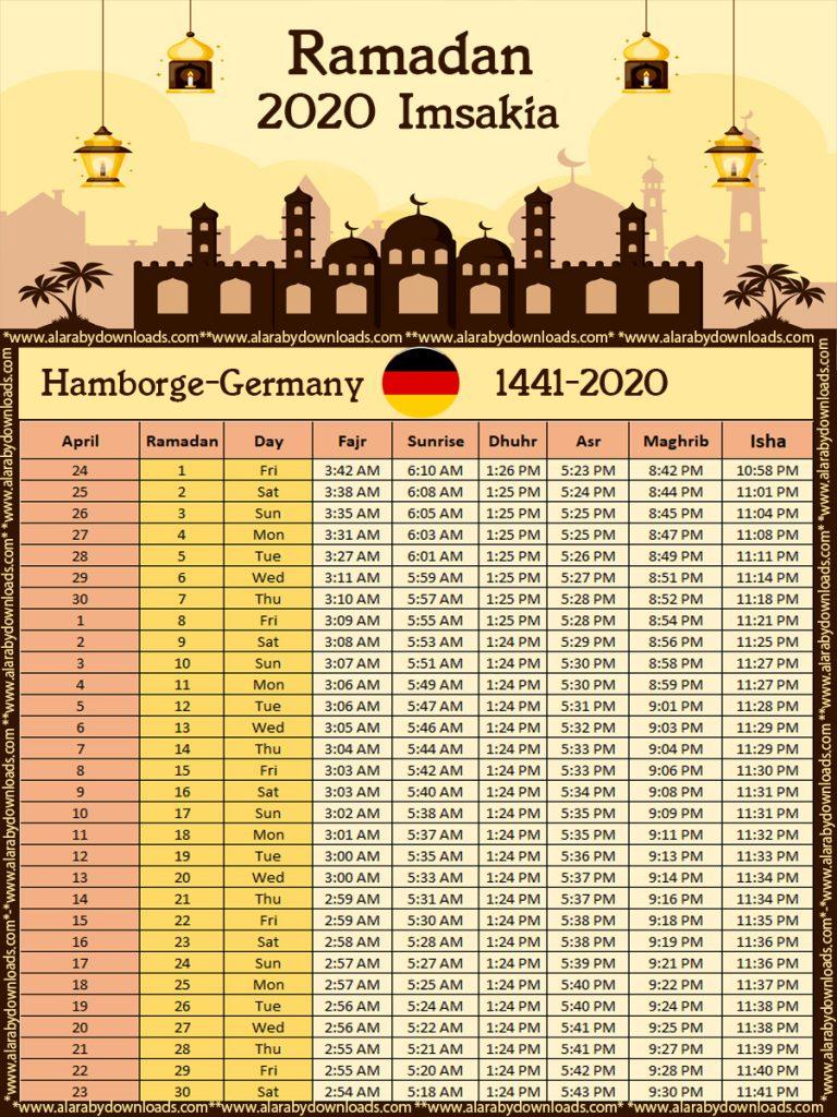 امساكية رمضان 2020 هامبورج المانيا تقويم 1441 Imsakia Hamburg Germany Ramadan Ramadan Day Vienna Austria