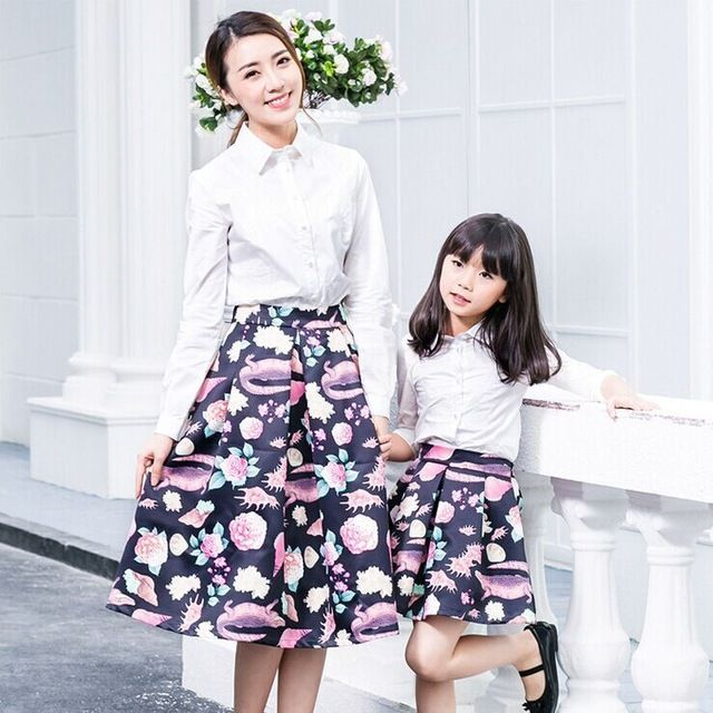 Family Clothing Sets Family Look Mother And Daughter Blouse Skirt