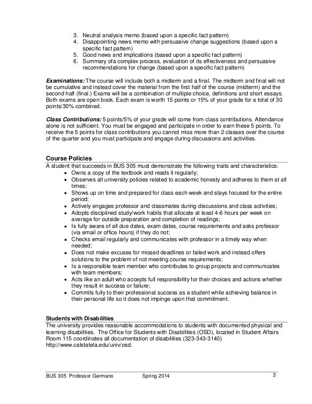 Bus Business Communication Syllabus Spring Persuasive Letter