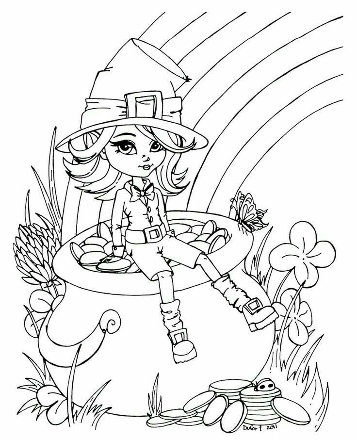 Leprechaun Girl Coloring Page | Arts & Crafts | Pinterest | Digi ...