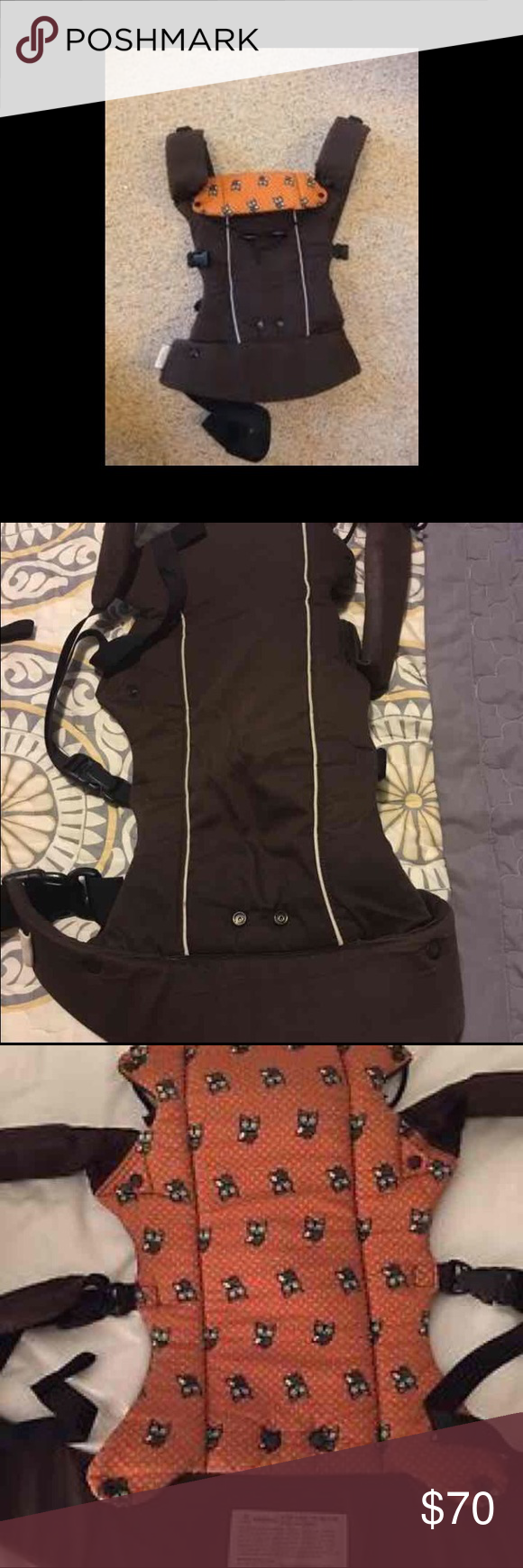 Beco Gemini Baby Carrrier Beco Gemini Baby Carrier Espresso on outside with orange/owls on inside  You can front carry with baby facing you or forward facing / back carry / hip carry!  If you need more pics just request what specific pics you want and I will send. Beco Other