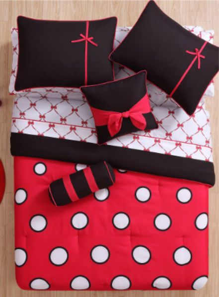 Teen Bedding Black Red Polka-Dot 10 PC Full Size Complete Comforter Sheets Set…