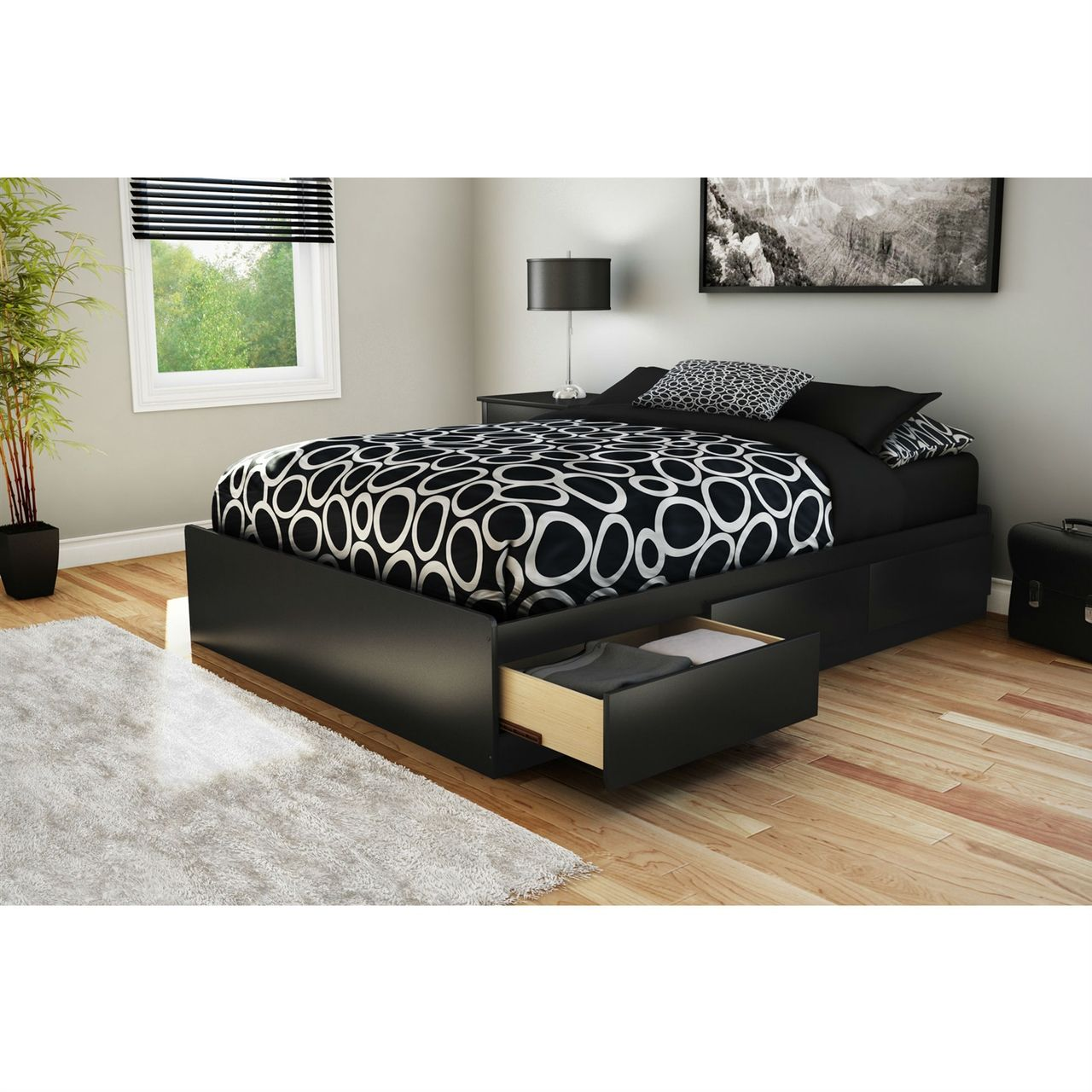 Full Modern Platform Bed With 3 Storage Drawers In Black Full