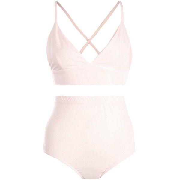 Boohoo Jessica Cross Back Triangle Bra + Brief Set ($6.40) ❤ liked on Polyvore featuring intimates and sleepwear