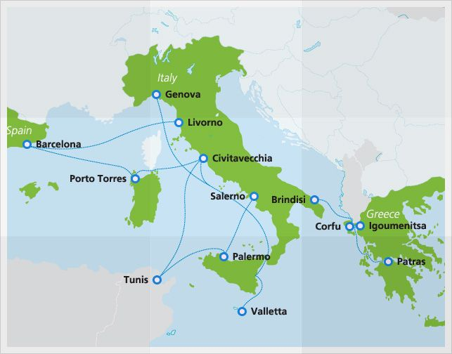Map Of Spain And Greece.Grimaldi Lines Ferry Trip Planning Europe Train Italy Line