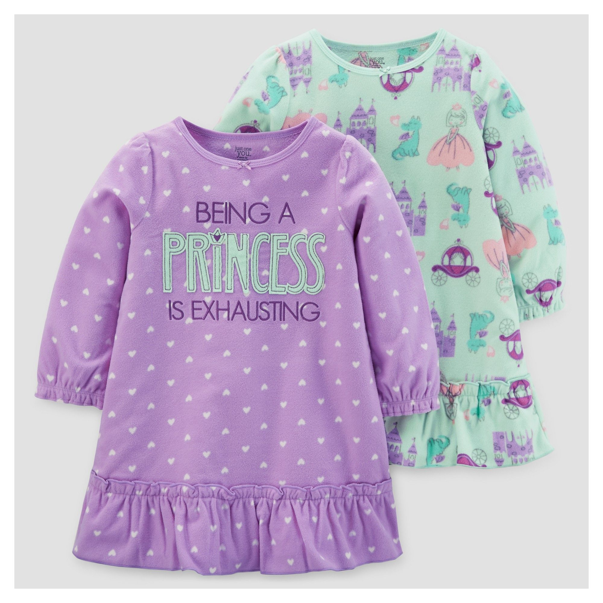 691eda23fd9c Toddler Girls  2pk Princess Polka Dots Fleece Pajama Set - Just One ...
