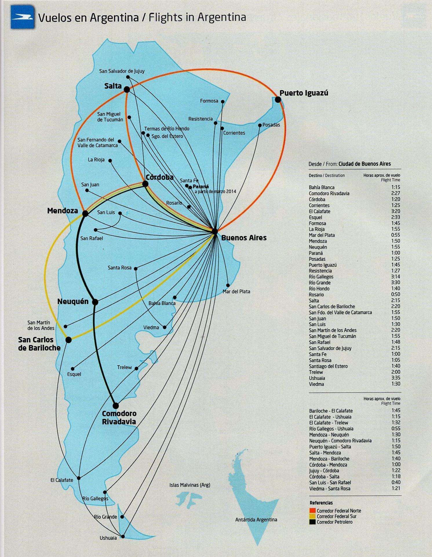 aerolineas argentinas route map Aerolineas Argentinas Domestic Routemap 2013 Route Map Map aerolineas argentinas route map