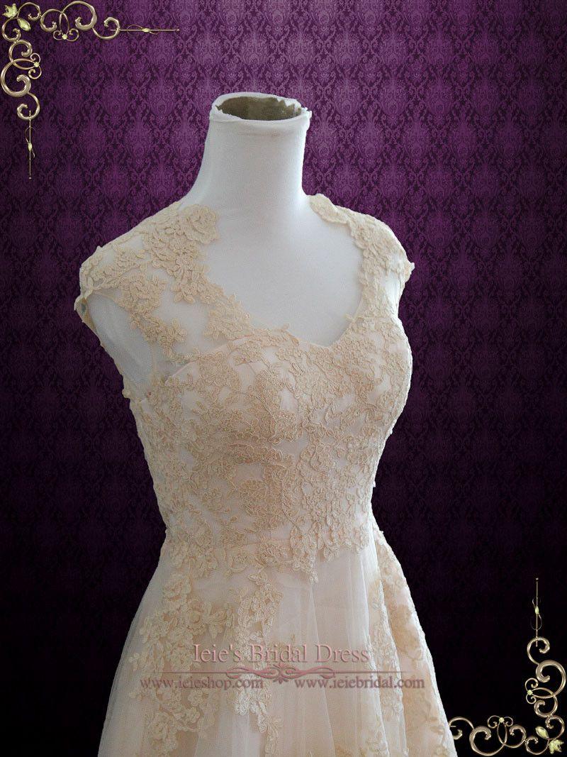 Lace wedding dress designers  Blush Whimsical Beach Lace Wedding Dress  Korynne  Wedding dress