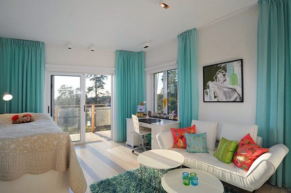 This Is Somewhat What A White Room Would Look Like With Ikea S Turquoise Velvet Curtains
