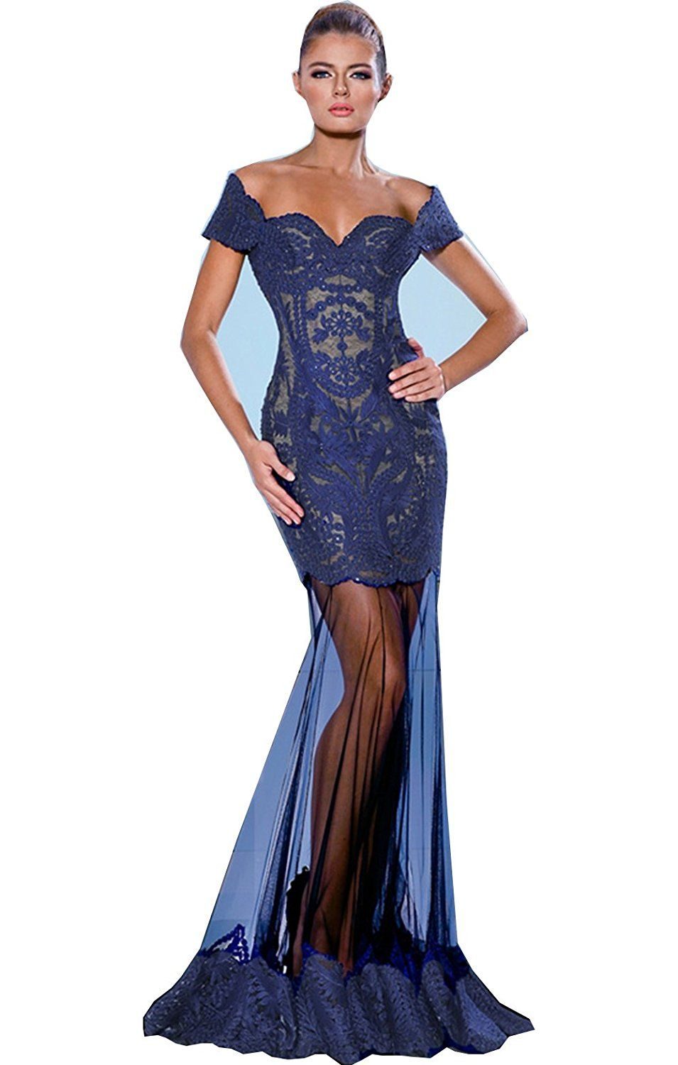 Fenghuavip offshoulder lace floor length sheer tulle blue evening