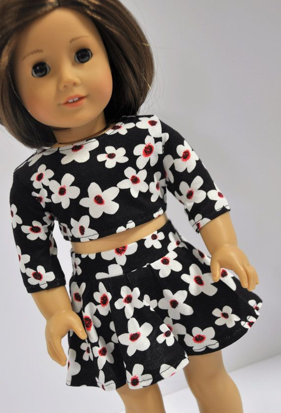 18 Inch Doll Clothes Black and White Daisy Print Crop Top and Skater ...