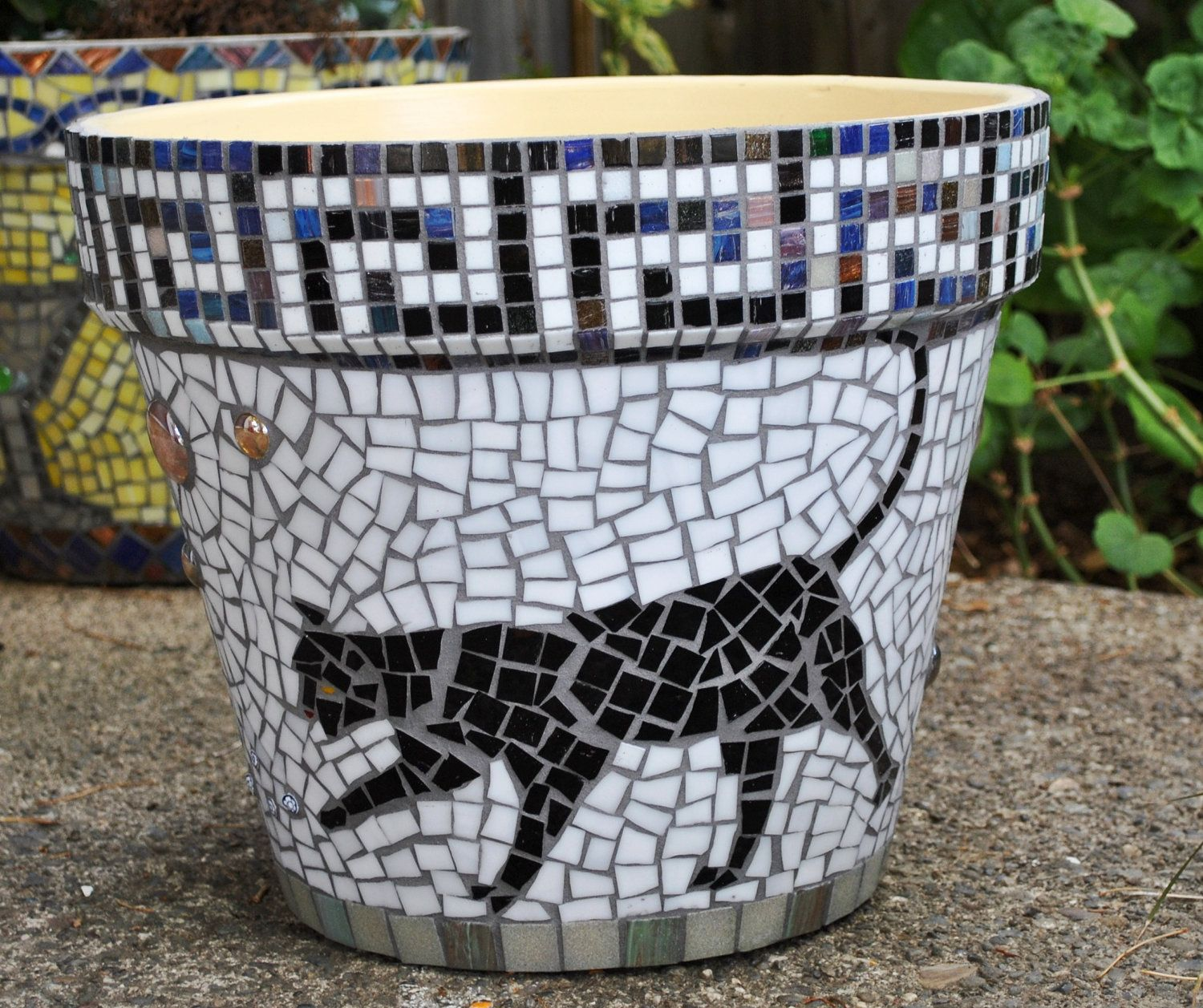 stained glass & tile mosaic garden container - black cats-greek