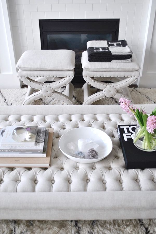 5 blogger coffee tables to copy tufted ottoman